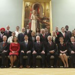 Canada's new Prime Minister Justin Trudeau (bottom row C) poses with his cabinet after their swearing-in ceremony at Rideau Hall in Ottawa November 4, 2015.  Photo: Chris Wattie
